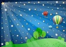 Surreal nacht met lichten en hete luchtballons Stock Afbeeldingen