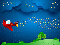 Surreal nacht met vliegtuig en golf van sterren Royalty-vrije Stock Foto's