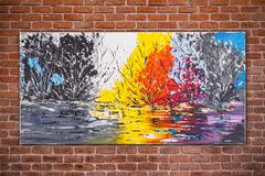 Surreal nature, colorful original oil painting stock photos