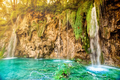 Surreal nature landscape, lake waterfalls in national park. Soft effect on photo Stock Photos