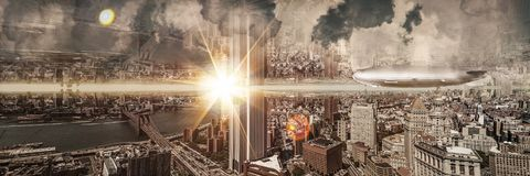 Surreal New York. Sureal and fantasy new-york upsidedown Stock Photos