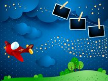 Surreal night with airplane, wave of stars and photo frames. Vector illustration eps10 vector illustration