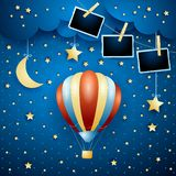 Surreal night with balloon and photo frames. Vector illustration eps10 vector illustration