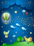 Surreal night with balloon, wave of stars, birds and flying fishes. Vector illustration eps10 royalty free illustration