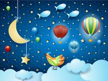 Surreal night with balloons, birds, crescent moon and flying fisches. Vector illustration eps10 stock illustration