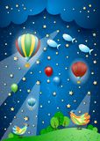 Surreal night with balloons, spotlights, birds and flying fishes. Vector illustration eps10 royalty free illustration