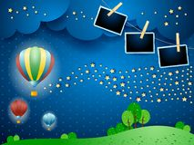 Surreal night with balloons, wave of stars and photo frames. Vector illustration eps10 vector illustration
