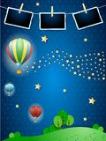 Surreal night with balloons, wave of stars and photo frames. Vector illustration eps10 royalty free illustration