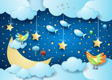 Surreal night with big moon, birds, balloons and flying fisches. Vector illustration eps10 vector illustration
