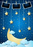 Surreal night with big moon, hanging stars and photo frames. Vector illustration eps10 stock illustration