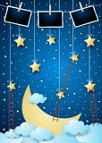 Surreal night with big moon, ladders and photo frames. Vector illustration eps10 vector illustration