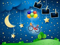 Surreal night with bike, hanging moon and photo frames. Vector illustration eps10 vector illustration