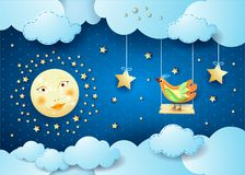 Surreal night with clouds, swing and bird Stock Image