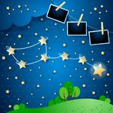 Surreal night with constellation and photo frames. Vector illustration eps10 vector illustration