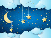 Surreal night, fantasy cloudscape. Vector illustration eps10 Royalty Free Stock Images