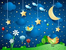 Surreal night with flower, birds, balloons and flying fishes. Vector illustration eps10 stock illustration