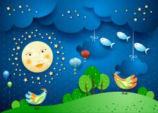 Surreal night with full moon, birds, balloons and flying fisches. Vector illustration eps10 vector illustration