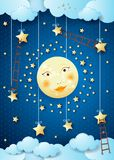 Surreal night with full moon, hanging stars and ladders Royalty Free Stock Photography