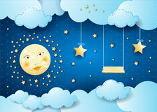 Surreal night with full moon, hanging stars and swing Royalty Free Stock Photos