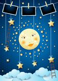 Surreal night with full moon, ladders and photo frames. Vector illustration eps10 vector illustration