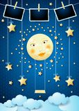 Surreal night with full moon, swing and photo frames. Vector illustration eps10 stock illustration