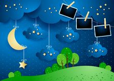 Surreal night with hanging clouds, moon and photo frames. Vector illustration eps10 royalty free illustration