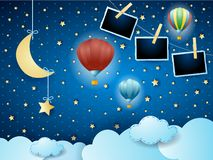 Surreal night with hanging moon, balloons and photo frames. Vector illustration eps10 royalty free illustration