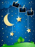 Surreal night with hanging moon and photo frames. Vector illustration eps10 royalty free illustration
