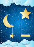 Surreal night with hanging moon and seesaw Royalty Free Stock Photo