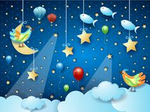 Surreal night with hanging moon, spotlights, bird, balloons and flying fishes. Vector illustration eps10 vector illustration