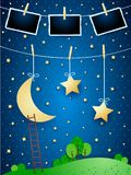 Surreal night with hanging moon, stars and photo frames. Vector illustration eps10 royalty free illustration