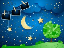 Surreal night with hanging moon and stars, tree and photo frames. Vector illustration eps10 stock illustration