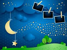 Surreal night with hanging moon, wave of stars and photo frames. Vector illustration eps10 royalty free illustration