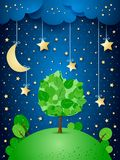 Surreal night with hanging stars and big tree Stock Images