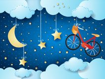 Surreal night with hanging stars and bike. Vector illustration eps10 Stock Photography