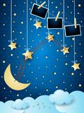 Surreal night with hanging stars, ladders and photo frames. Vector illustration eps10 vector illustration