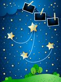 Surreal night with hanging stars and photo frames. Vector illustration eps10 royalty free illustration