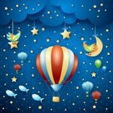 Surreal night with hot air balloons and flying fishes. Vector illustration eps10 stock illustration
