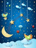 Surreal night with ladders, birds, balloons and flying fishes. Vector illustration eps10 vector illustration