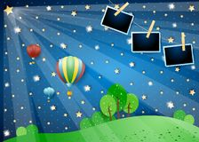 Surreal night with lights, balloons and photo frames. Vector illustration eps10 vector illustration