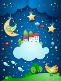 Surreal night with little town over the clouds and flying fishes. Vector illustration eps10 royalty free illustration