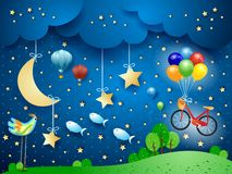 Surreal night with moon, hanging bike, balloons, birds and flying fisches. Vector illustration eps10 stock illustration