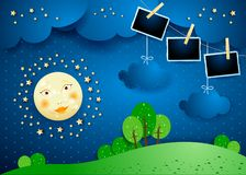Surreal night with moon, hanging clouds and photo frames. Vector illustration eps10 stock illustration