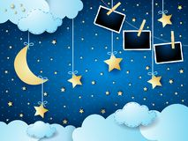 Surreal night with moon, hanging stars and photo frames. Vector illustration eps10 vector illustration
