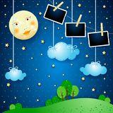 Surreal night with moon and photo frames. Vector illustration eps10 stock illustration