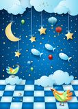 Surreal night with moon, room, balloons, birds and flying fishes. Vector illustration eps10 vector illustration
