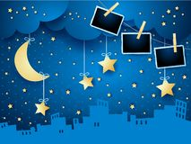 Surreal night with moon, skyline and photo frames. Vector illustration eps10 vector illustration