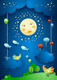 Surreal night with moonlight, birds, balloons and flying fishes. Vector illustration eps10 stock illustration