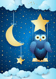 Surreal night with owl and swing. Vector illustration eps10 Royalty Free Stock Photos