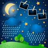 Surreal night with rain and photo frames. Vector illustration eps10 vector illustration